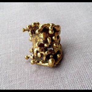 Vintage Brutalist Bronze Ring